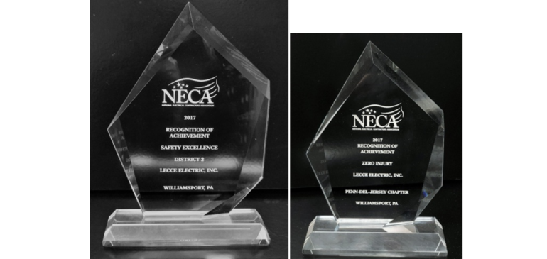 Lecce Electric, Inc. – 2017 Recipient of 2 NECA Safety Awards